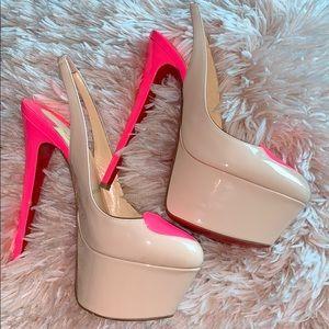 Pink heart Christian Loubuitons. (Lightly worn)